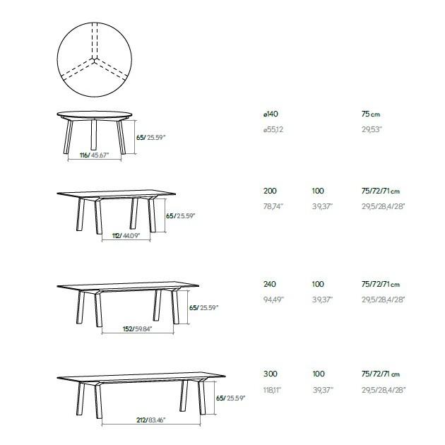 Dimensiones mesa Mitis nogal Punt Mobles