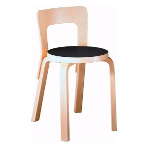 Silla para niños N65 abedul asiento fenólico negro de Artek