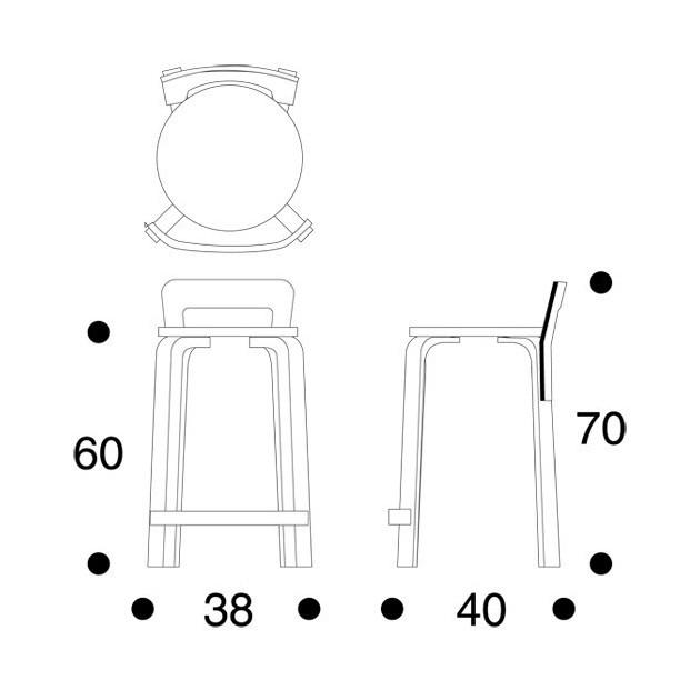 dimensiones Taburete K65 de Artek