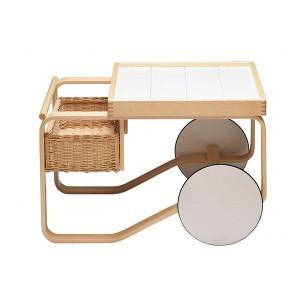 Tea Trolley 900 madera abedul, cerámica blanca y cesta de mimbre de Artek