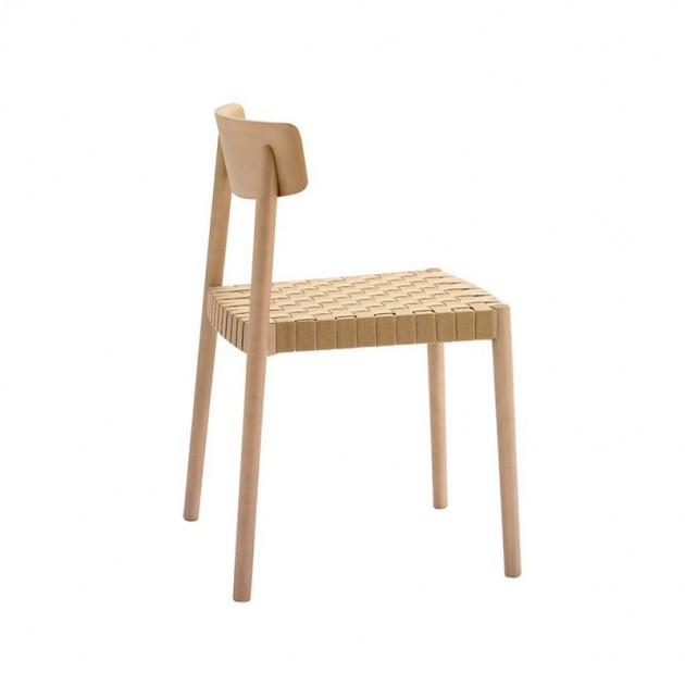 Silla Smart SI-0612 Andreu World madera y cincha beige