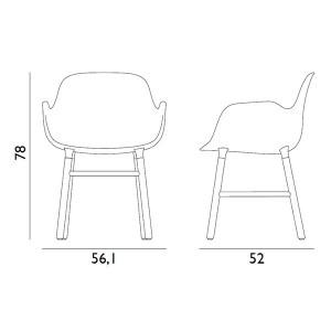 dimensiones Silla Form con brazos color blanco patas de roble de Normann copenhagen.