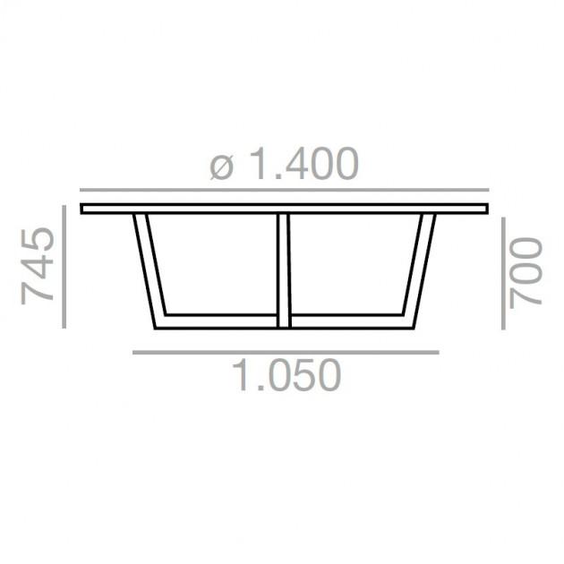 dimensiones Mesa de comedor Uves 3660 Andreu World
