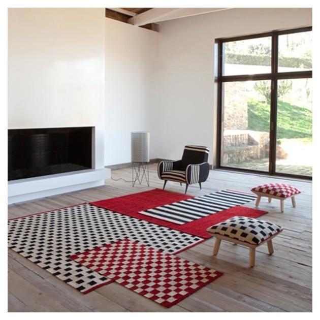 salón con Alfombra Mélange Stripes 2 Nanimarquina