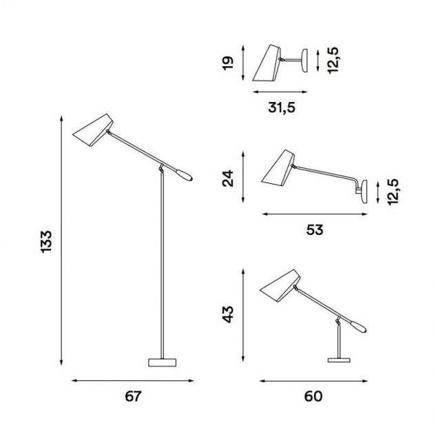 Dimensiones Lámpara Birdy de pared de brazo largo. Disponible en Moisés showroom