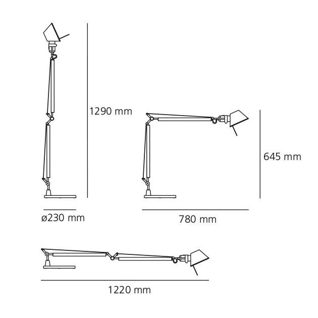 dimensiones lámpara de sobremesa Tolomeo Artemide.