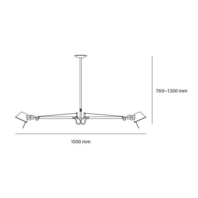dimensiones lámpara de suspensión 2 brazos Tolomeo Artemide