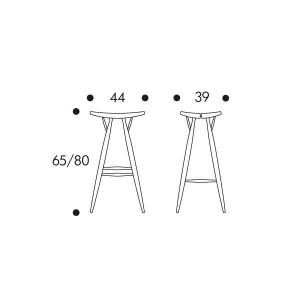 dimensiones Taburete alto Pirkka de Artek