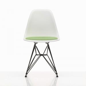 Eames Plastic Chair DSR Asiento tapizado verde