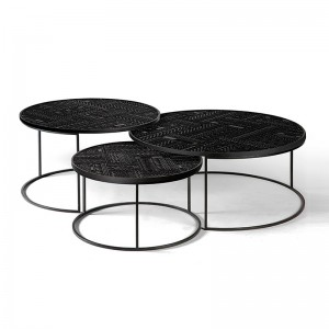 Tabwa Round Nesting Coffee table Set - Ancestors by Ethnicraft