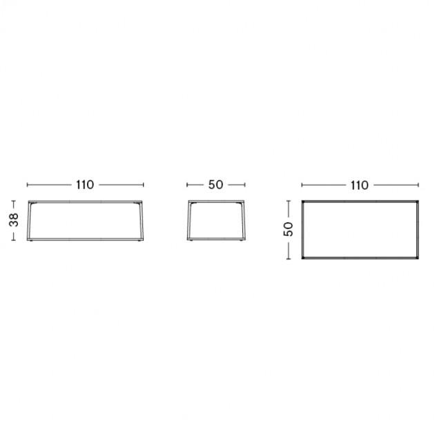 Eiffel rectangular mesa café HAY medidas