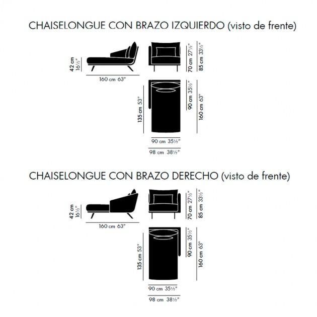 Chaiselongue Costura Stua - medidas
