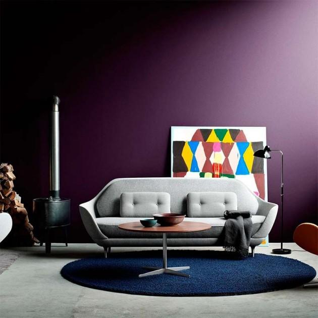 Ambiente acogedor con Lámpara de Pie Kaiser Luxus color negro de Fritz Hansen