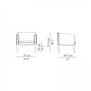 Medidas: Butaca BUD diseñada por Francesc Rifé para Carmenes