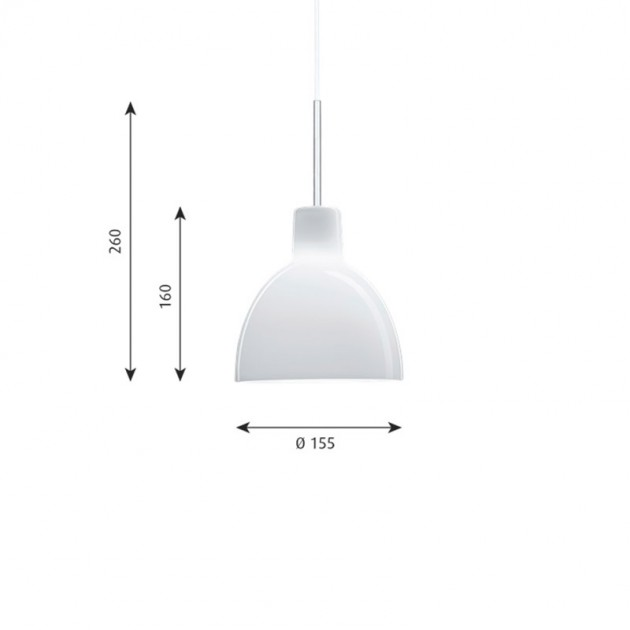Lámpara Toldbod 155 Glass de Louis Poulsen medidas