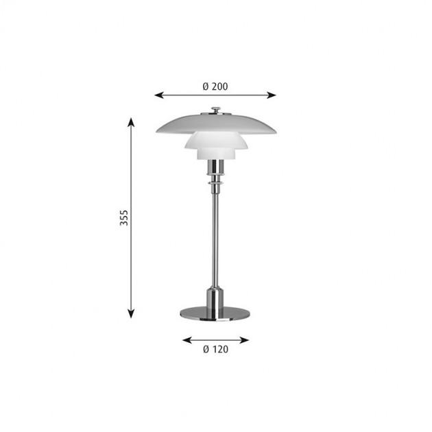 Lámpara PH 2/1 Table Louis Poulsen medidas