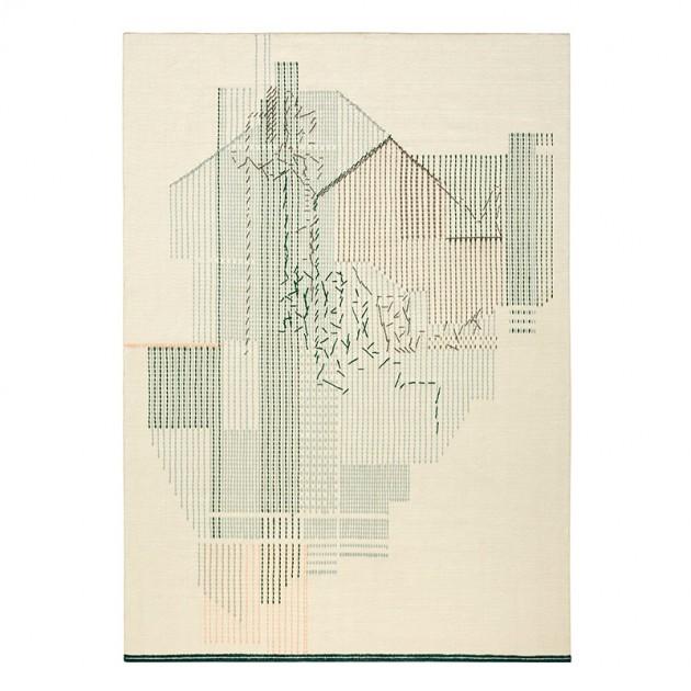 Alfombra Kilim Backstitch Composition Verde de Gan Rugs en Moises Showroom