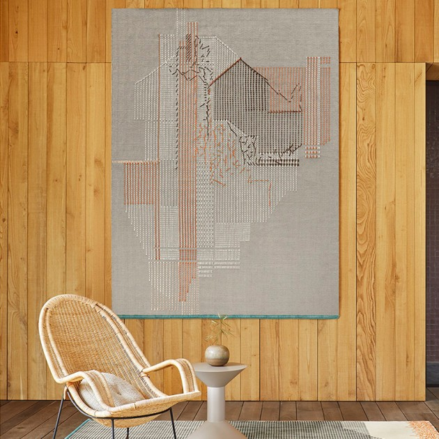 Alfombra Backstitch Composition Brick de Gan Rugs en Moises Showroom