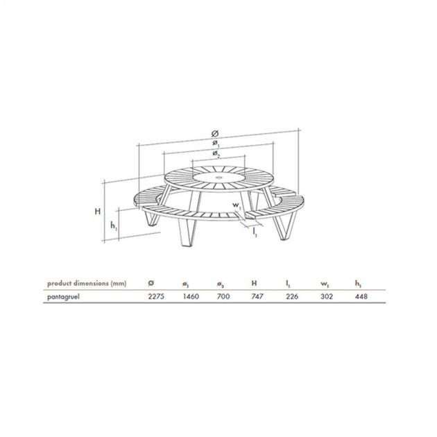 Dimensiones Mesa redonda picnic Pantagruel extremis