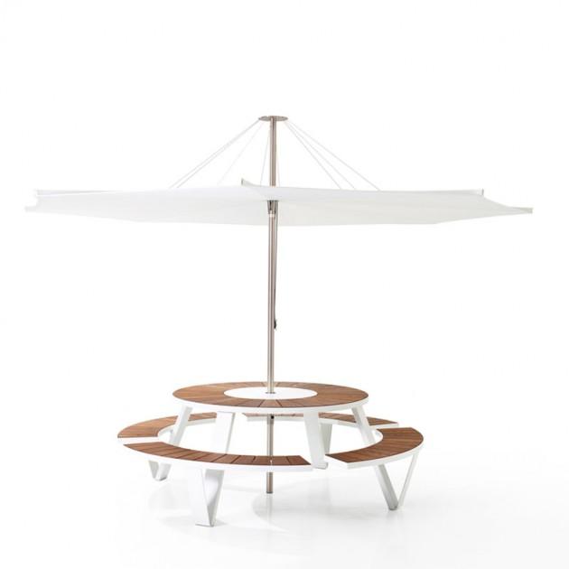 Mesa redonda picnic Pantagruel con parasol inumbrina 380 de extremis