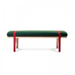 Banco On the road color verde y rojo de RS Barcelona. Disponible en Moisés Showroom