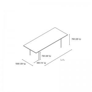 Dimensiones Mesa Anton de E15. Disponible en Moisés Showroom