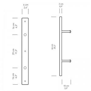 medidas soporte de pared BM5270S de Carl Hansen. Disponible en Moisés showroom