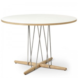 Comprar Mesa embrace E020 talla M en roble jabón con base acero inoxidable de Carl Hansen. Disponible en Moisés showroom