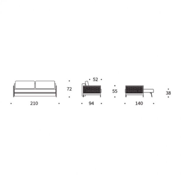 dimensiones sofá cama Narvi color 521 de Innovation Living