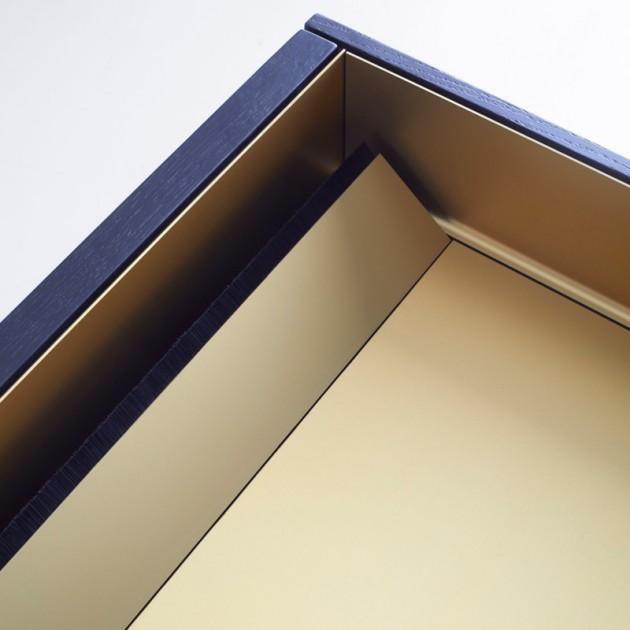 detalle tapa aluminio gold del Aparador Stockholm 401 roble ebano de punt Mobles