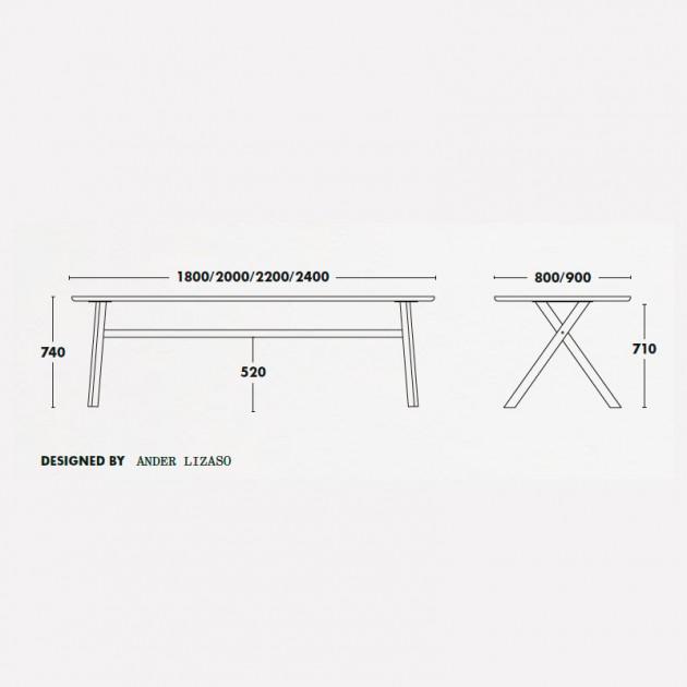 Medidas mesa madera Bai de Ondarreta en Moises Showroom