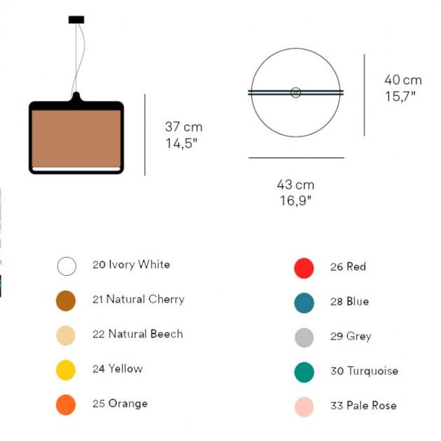 dimensiones y colores Lámpara suspensión Icon S de Luzifer