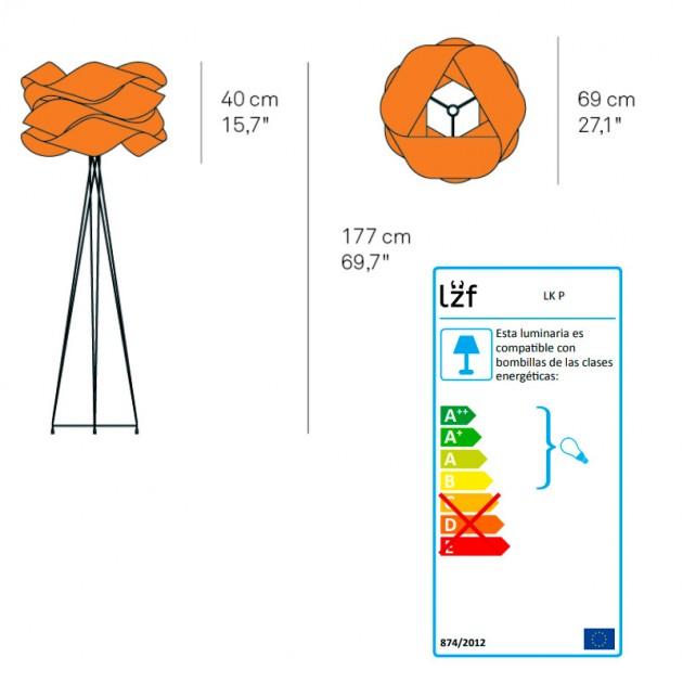 dimensiones lámpara pie Link de Luzifer