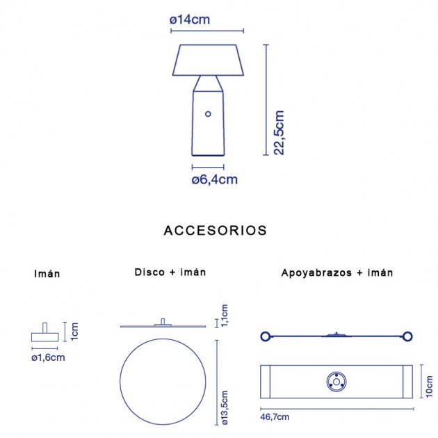 dimensiones y accesorios lámpara Bicoca Marset