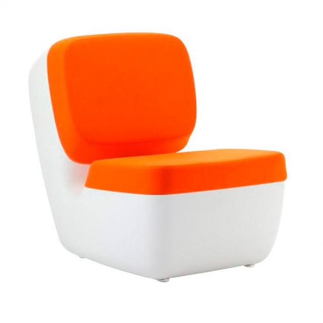 Sillón Nimrod Magis blanco tapicería naranja
