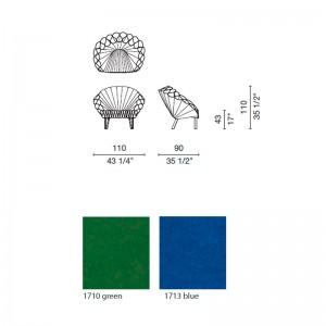 dimensiones y colores sillón Peacock Cappellini