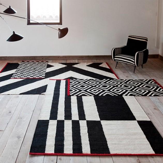 salón con Alfombra Mélange Stripes 1 Nanimarquina