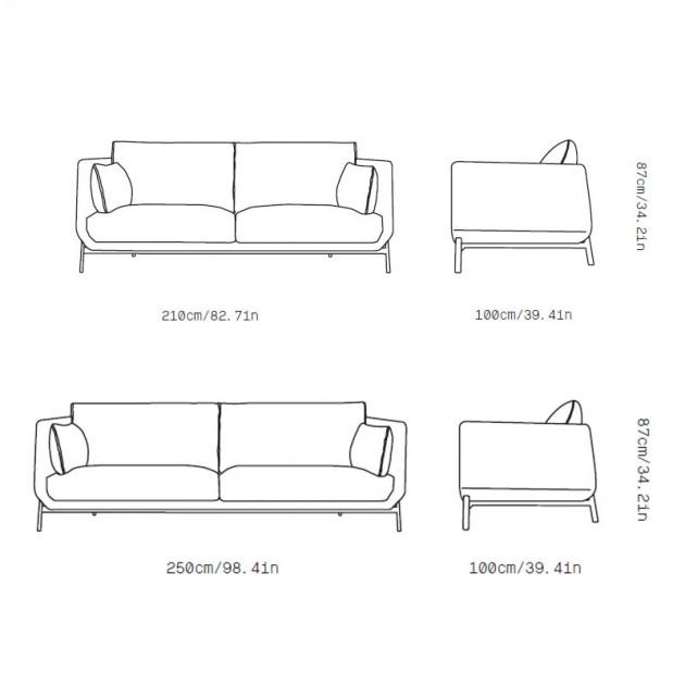 Medidas sofá Must de Omelette editions en Moises Showroom