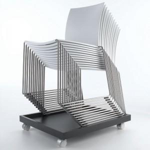 Silla apilable M1 Outdoor de MDF Italia color blanco base acero inoxidable