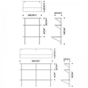 dimensiones escritorio de pared Kaari Artek