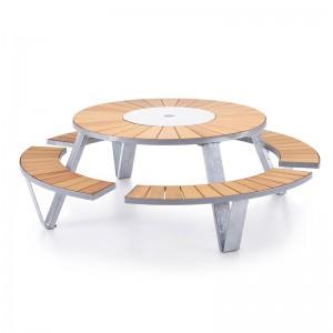Mesa picnic Pantagruel iroko y acero galvanizado extremis