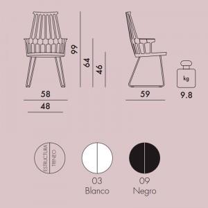 medidas y colores silla Comback Trineo Kartell