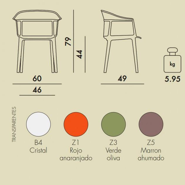 Silla Papyrus Kartell medidas y colores