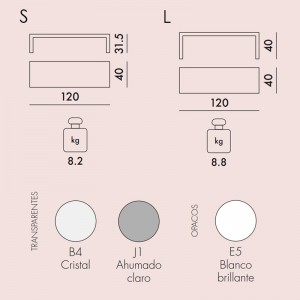 medidas y colores mesa auxiliar Invisible Side Kartell