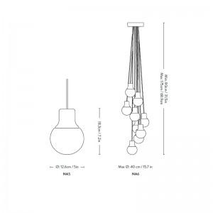 medidas lámpara Mass NA6 &tradition