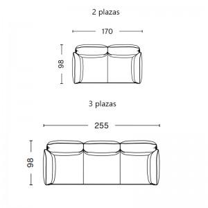 medidas sofás Pandarine brazos reclinables  HAY