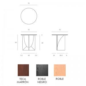 Medidas y acabados mesa auxiliar Geometric Ethnicraft
