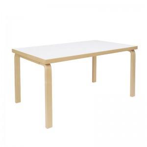 mesa Aalto Rectangular abedul natural sobre HPL blanco Artek