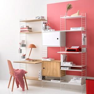escritorio String system cabinet blanco puerta batiente