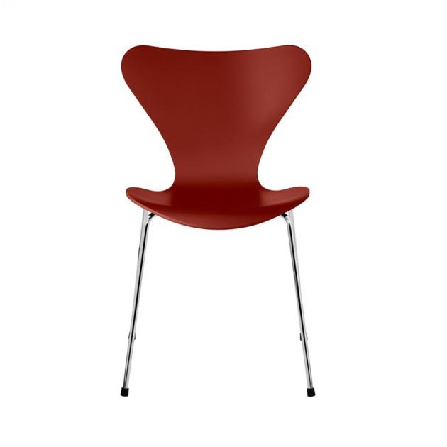 Fritz Hansen silla Serie 7 lacada Venetian red pata cromada